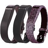 Greatfine Bracelet de Montre en Silicone pour Fitbit flex Regardé Bande de Remplacement Accessoires (Black Grid Yun 3pcs)