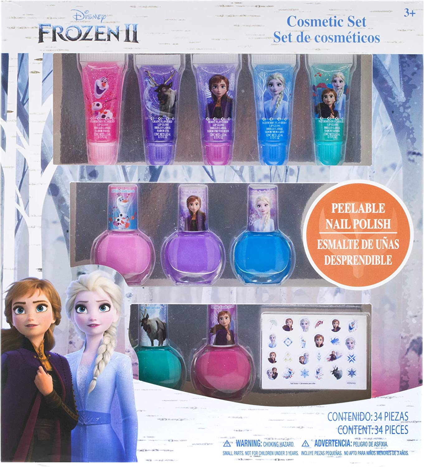 Townley Girl Disney Frozen 2 Super Sparkly Cosmetic Set with Lip Gloss  Nail Polish and Nail Stickers - 11 Pack