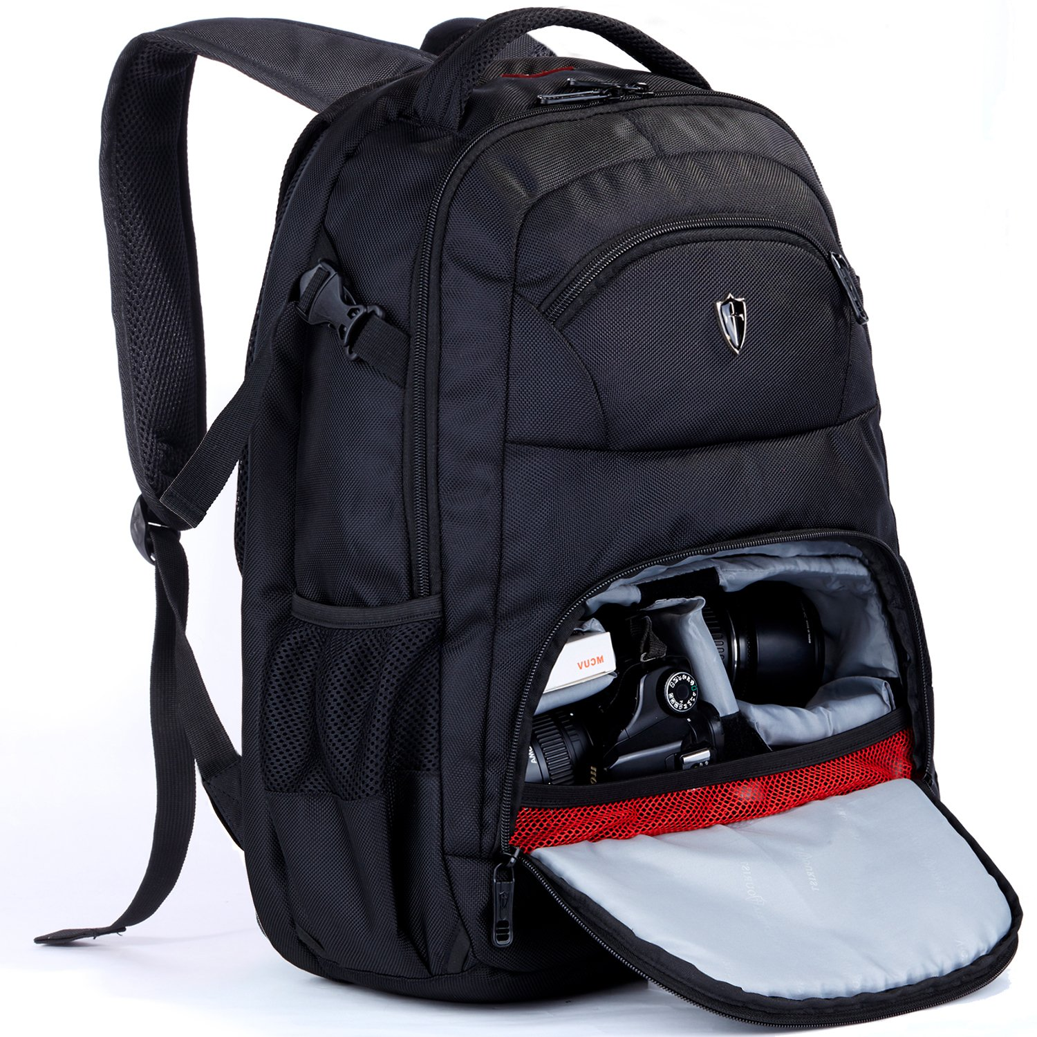 Victoriatourist DSLR Camera Bag Backpack with Laptop Compartment and Raincover Fits 15.6 inch Laptops, Black (Black6022)