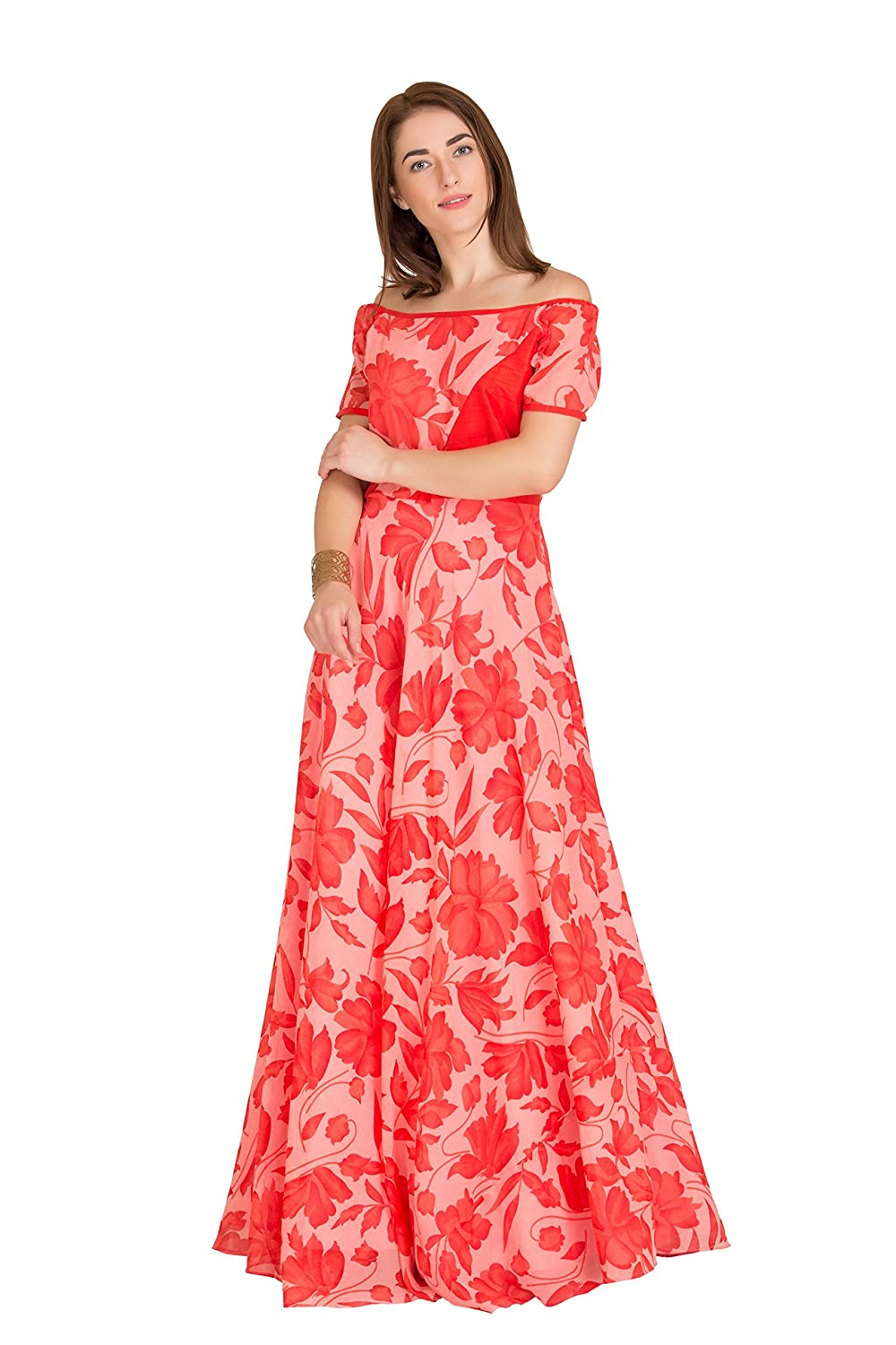 Women's Georgette Off Shoulder Full Length maxi Gown