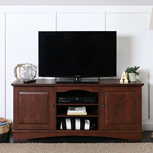Walker Edison Furniture Company Wood Universal Stand with Storage Cabinet for TV s up to 75 Living Room Entertainment Center, 60-Inch, Traditional Brown