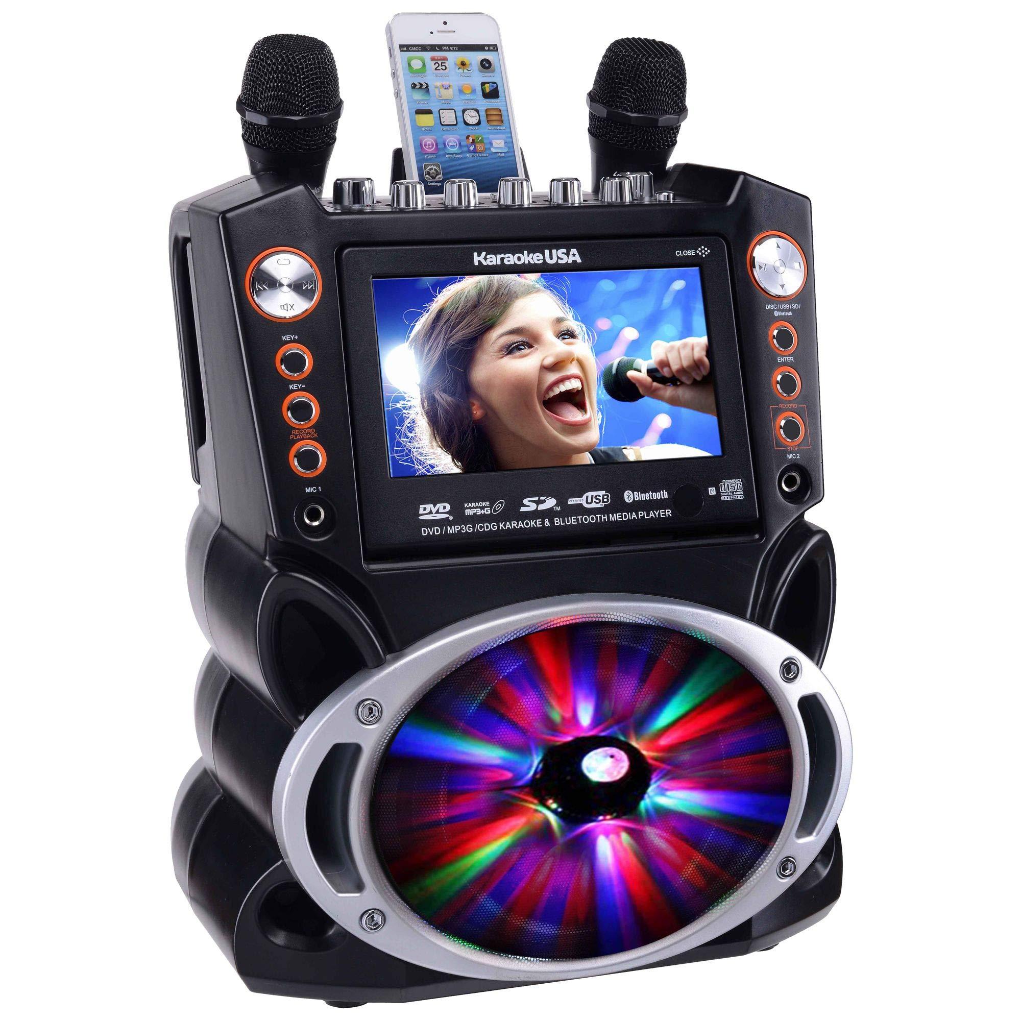 Karaoke USA GF846 DVD/CDG/MP3G Karaoke Machine with 7'' TFT Color Screen, Record, Bluetooth and LED Sync Lights by Karaoke USA (Image #14)