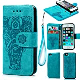 iPhone SE Case,iPhone 5 5S Case, Wallet Case PU Leather Flip Case 2 in 1 Case Magnetic Detachable TPU Cover Embossed Elephant Design Card Slots Cover Wrist Strap Case Shockproof Case Phone Cover for iPhone SE,iPhone 5 5S -Blue