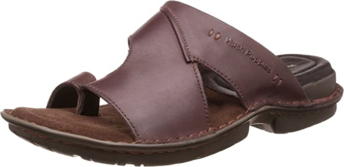 Hush Puppies Men's Decent Toe Ring Leather Hawaii Thong Sandals Men's Fashion Sandals at amazon