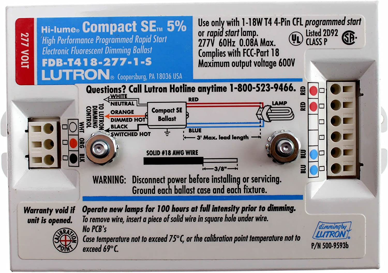 18W T4 CFL Lutron FDB-T418-277-1-S Hi-Lume Flourescent Dimming Ballast 277V