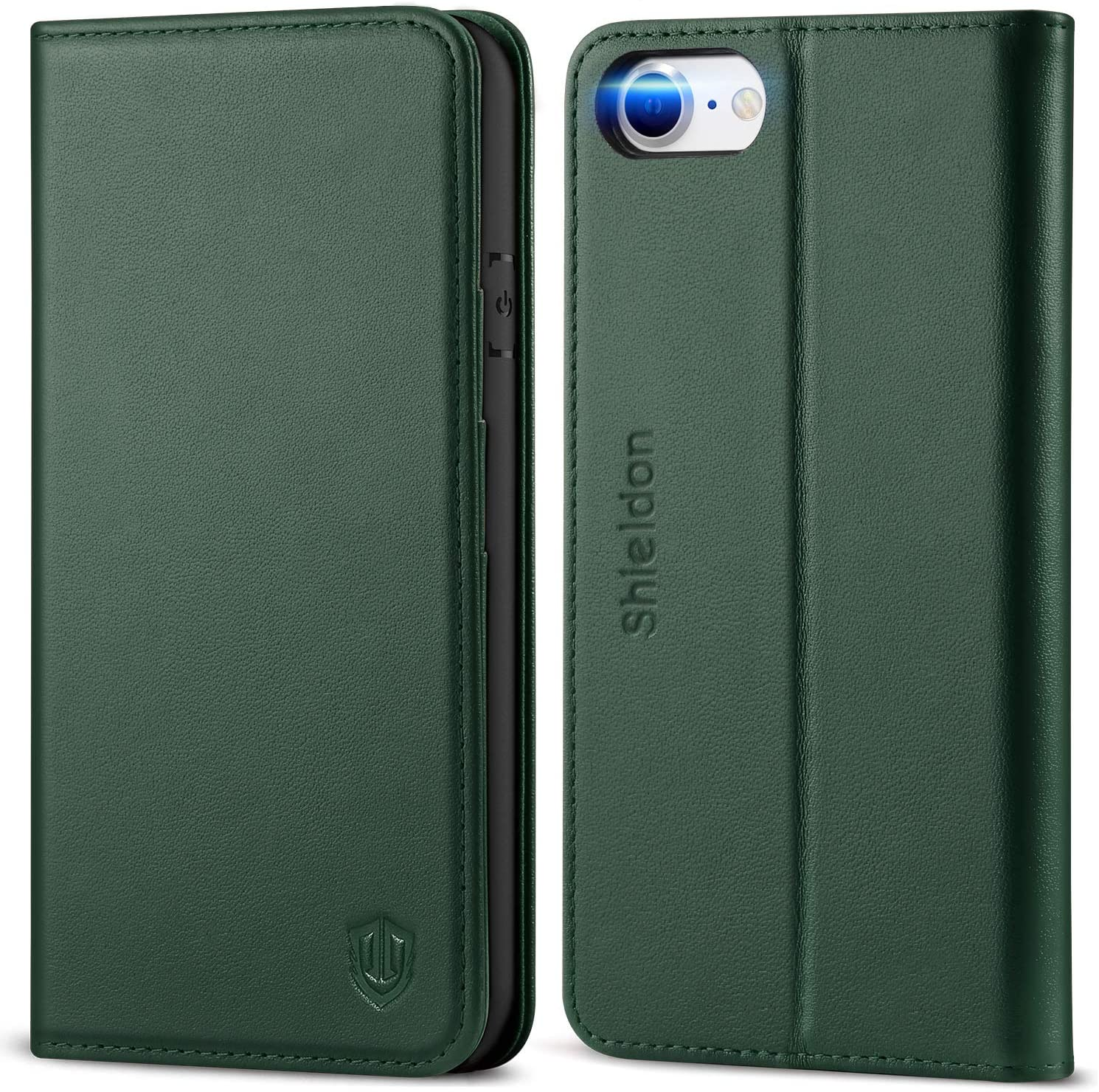SHIELDON iPhone SE 2020 Case, iPhone 8 Wallet Case, Genuine Leather iPhone 7 Flip Magnetic Cover Card Slots Carry-All with Kickstand TPU Shockproof Case Compatible with iPhone SE2/8/7 - Midnight Green