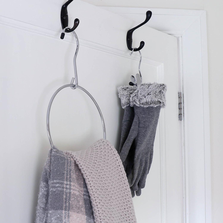 HANGERWORLD 3 Chrome Metal Belt Ring Holder Space Saving Scarf Jewellery Accessory Coat Clothes Hanger