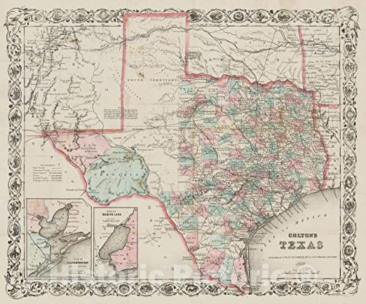 1866 Texas and Southwest United States Map Wall Art Poster Schonberg Print Decor