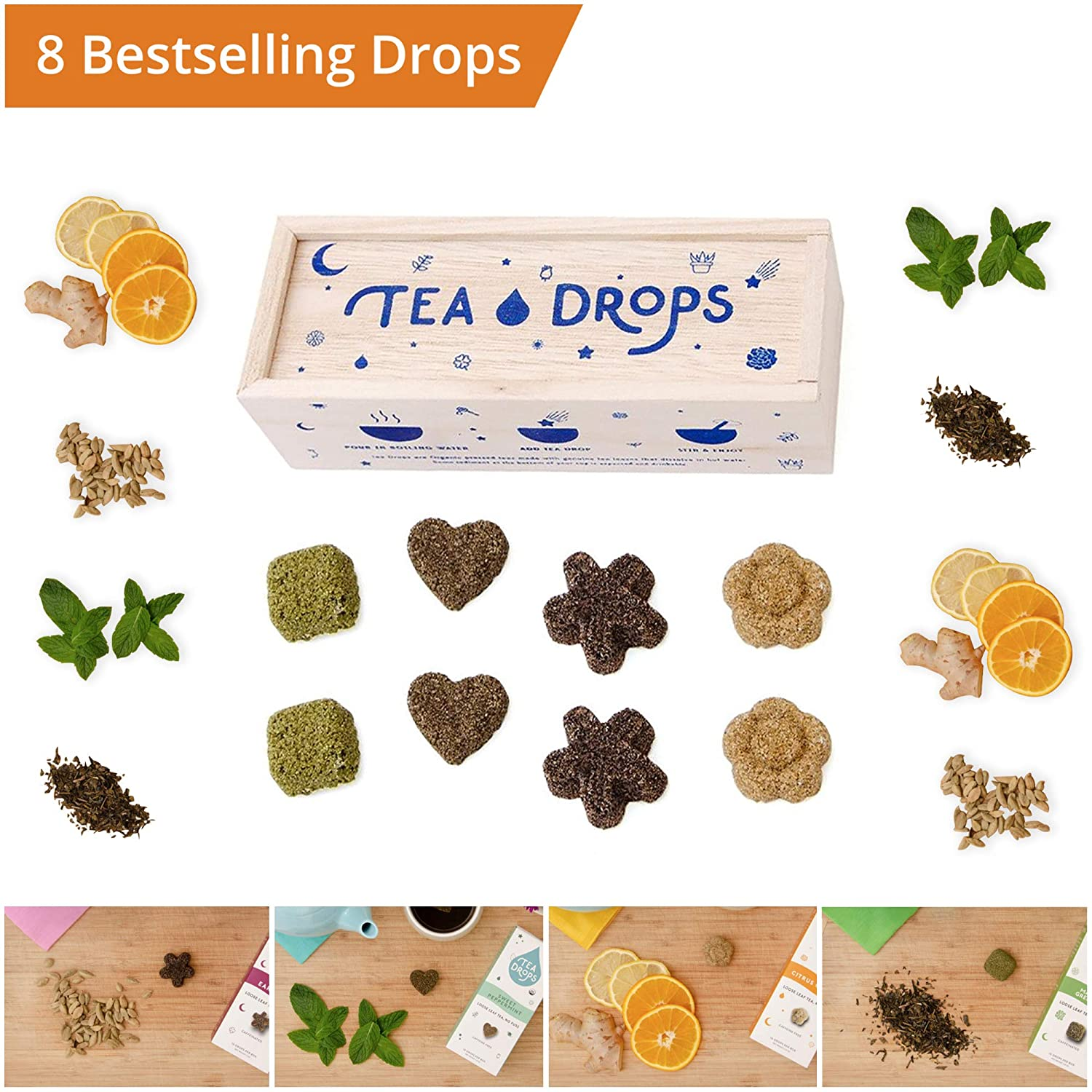 Tea Drops Instant Organic Pressed Teas - Medium Herbal Tea Sampler Assortment Box - Dissolves in your Cup Eliminating the Need for Teabags and Sweetener Packets - Loose Leaf Tea without the Fuss - Gre 6