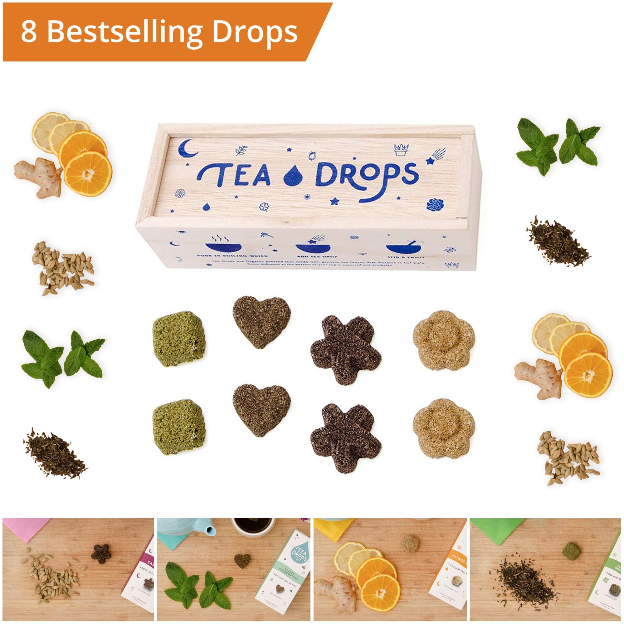 Tea Drops | Instant Organic Tea | Medium Tea Sampler Box | 8 Handcrafted Best Selling Tea Drops | Great-Gift Set For Tea Lovers
