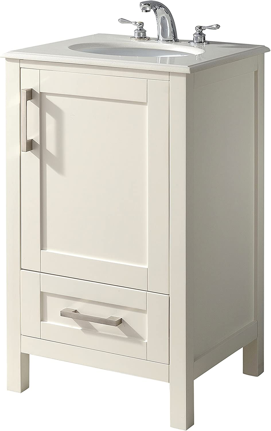 SIMPLIHOME Westbridge 20 inch Contemporary Bath Vanity in Soft White with Bombay White Engineered Quartz Marble Top