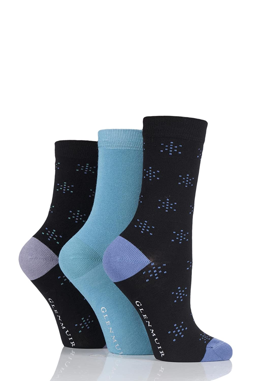 Glenmuir Mens 3 paires lisses Comfort Cuff Socks