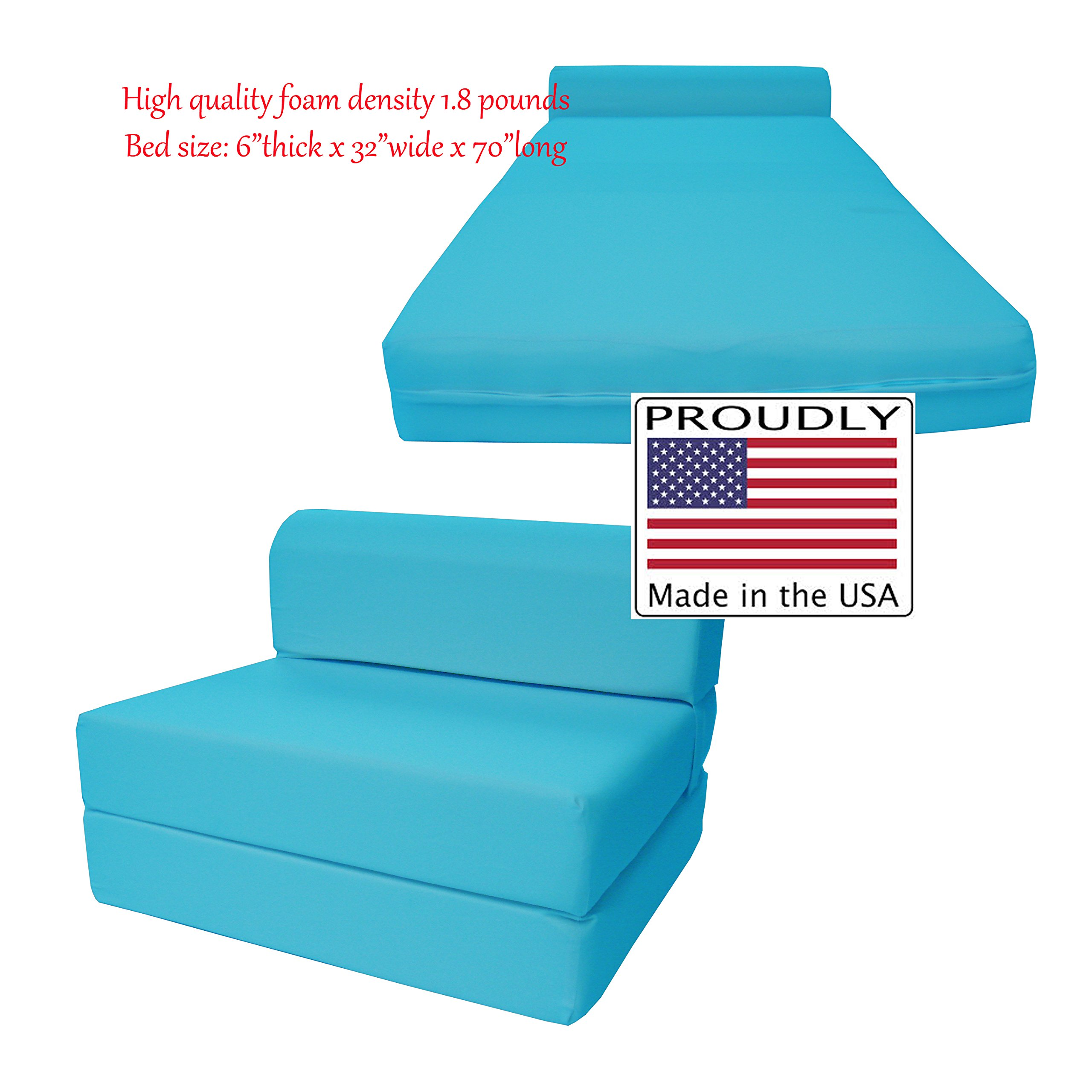 Turquoise Sleeper Chair Folding Foam Bed Sized 6'' Thick X 32'' Wide X 70'' Long, Studio Guest Foldable Chair Beds, Foam Sofa, Couch, High Density Foam 1.8 Pounds. by D&D Futon Furniture