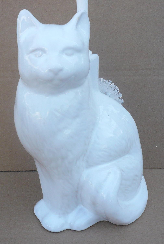 Wiegand Scopino per WC a Forma di Gatto Prodotto in Germania in Ceramica