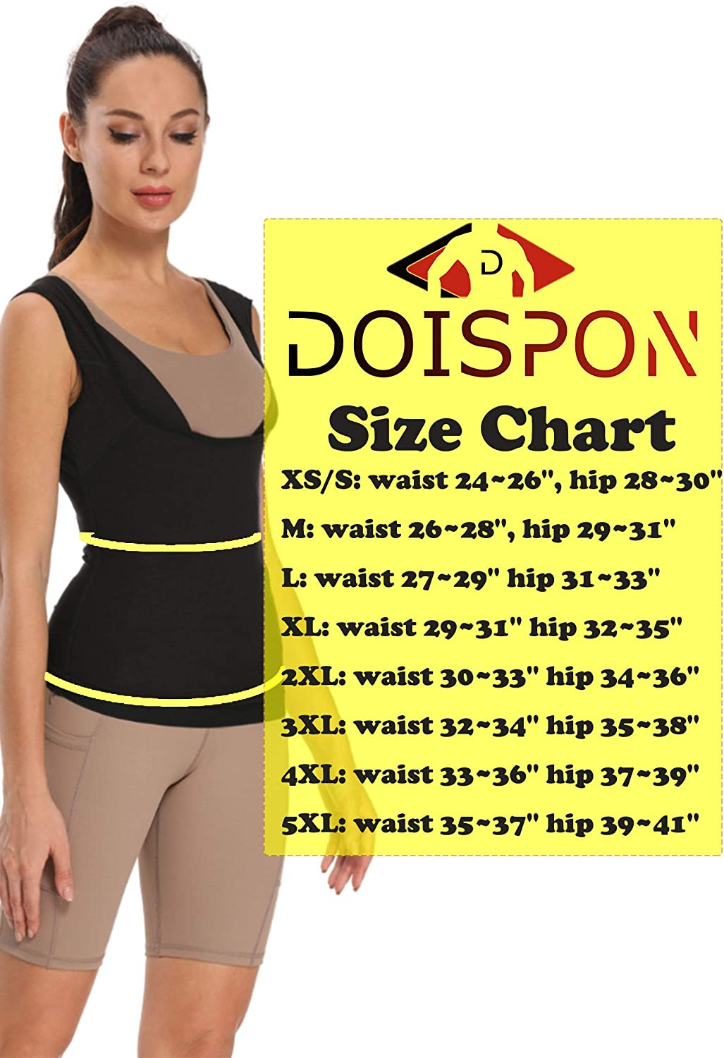 DOISPON Women Sweat Tank Top 8 Sizes Sauna Vest Compression Outfit Waist Trainer for Everyday Wear Home Workout