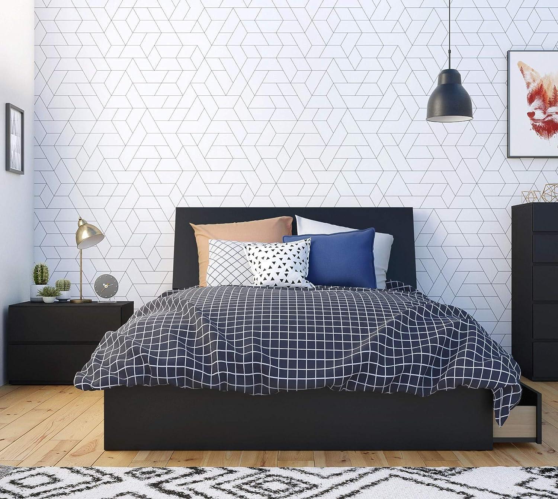 Amazon Com Nexera Epik 3 Piece Full Size Bedroom Set Black Black