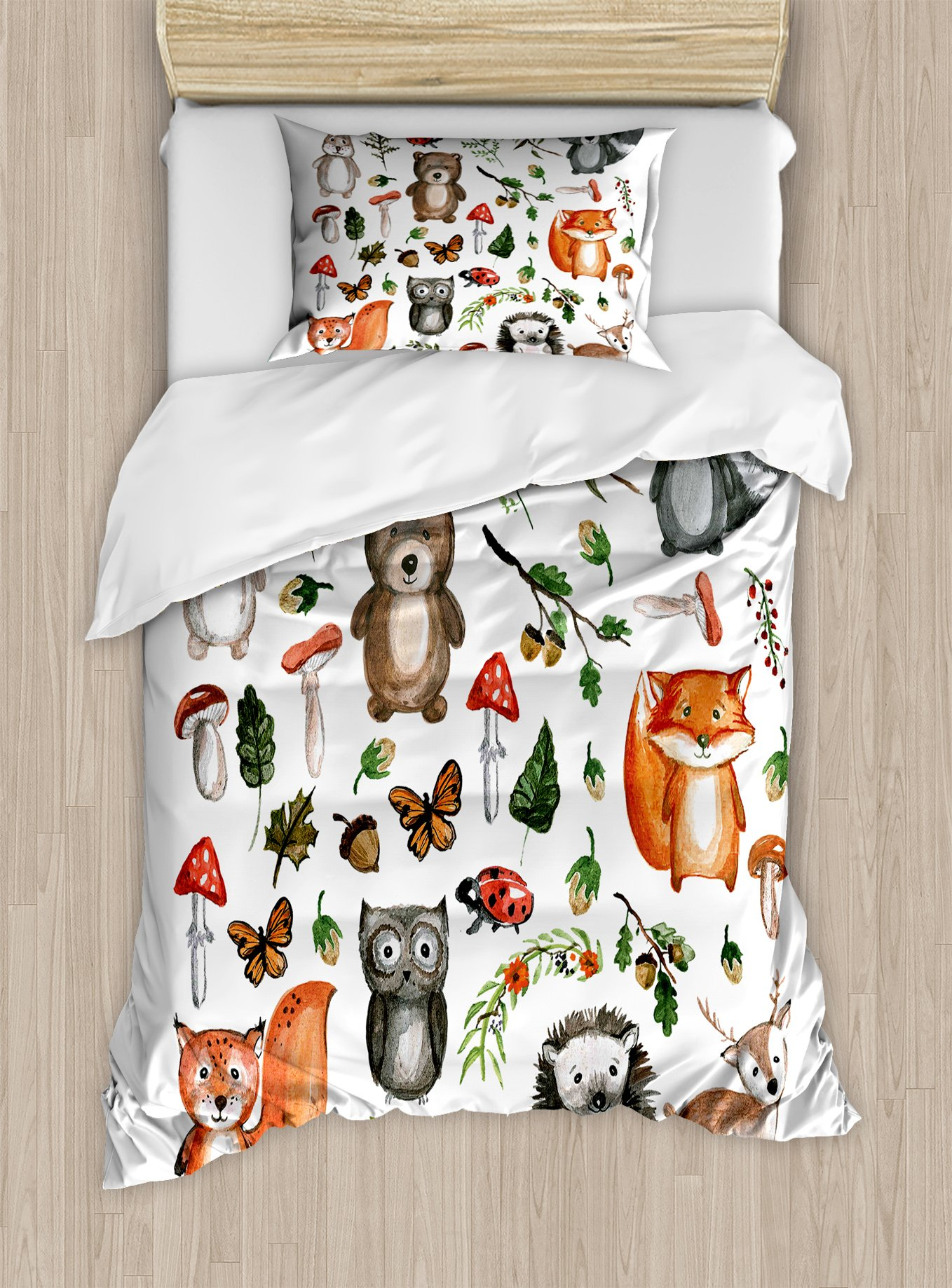 Lunarable Woodland Duvet Cover Set Twin Size, Watercolor Hand Drawn Forest Animals Illustration among Elements of the Woods, Decorative 2 Piece Bedding Set with 1 Pillow Sham, Multicolor