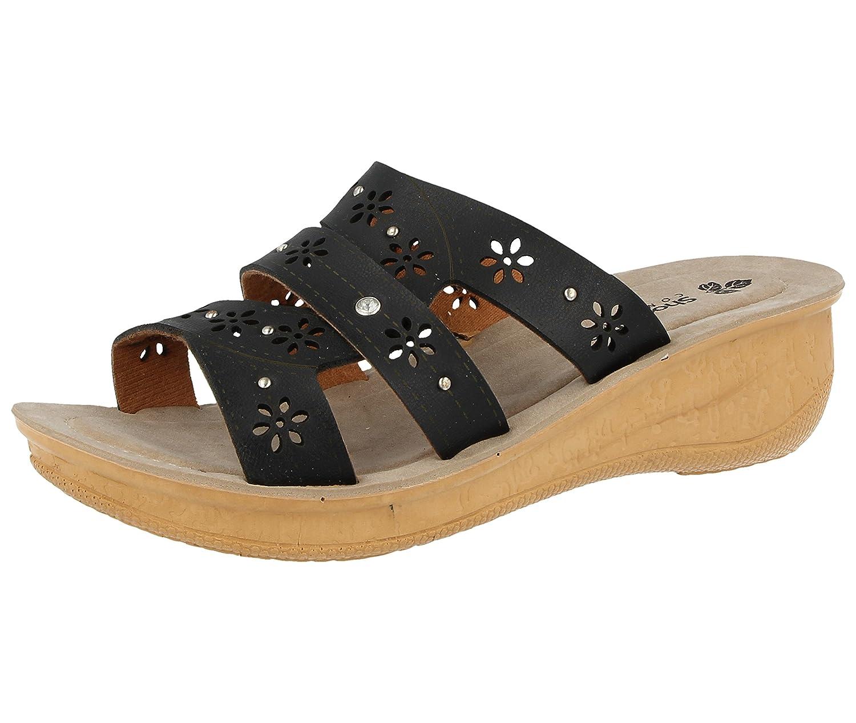 Femmes de Gezer 19963 simili à cuir découpes à enfiler légère Femmes d été faible Wedge Mule Sandales à chaussures 3–8 Corsica:black 4c0a959 - boatplans.space