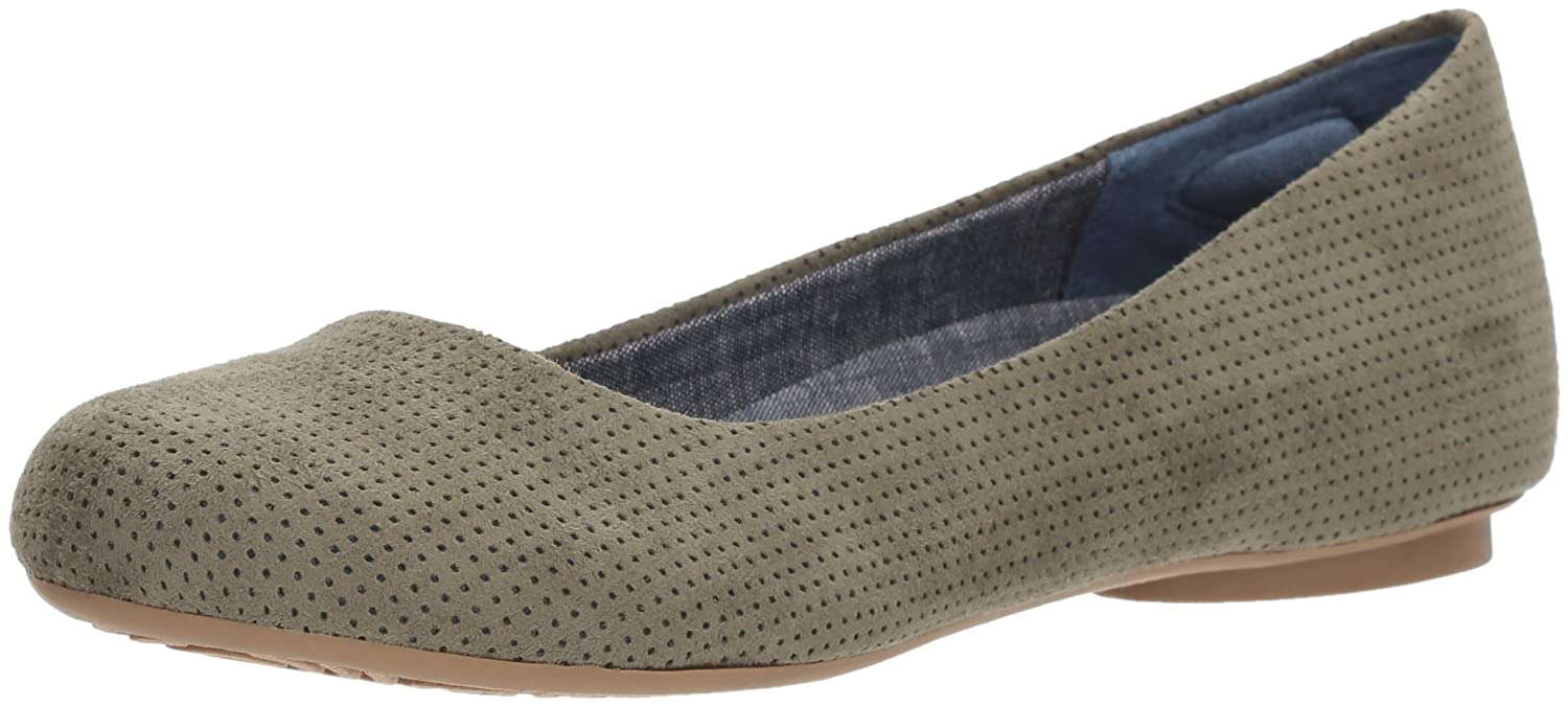 Dr. Scholl's Shoes Women's Friendly2 Ballet Flat B076941148 7.5 W US Green Microfiber Perforated