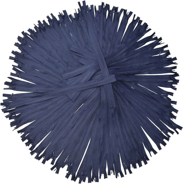 Navy Blue Nylon Invisible Zipper for Sewing, 28 Inch Bulk Hidden Zipper Supplies; by Mandala Crafts