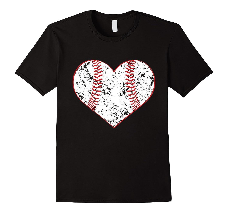 Baseball Heart T Shirt Gift for Softball Mom or Dad Team-RT