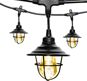 Enbrighten Vintage LED Café String Lights with Oil-Rubbed Bronze Lens Shade, Black, 12ft, 6 Lifetime Bulbs, Premium, Shatterproof, Weatherproof, Indoor/Outdoor, UL Listed, 43373