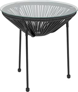 Flash Furniture Valencia Oval Comfort Series Take Ten Black Rattan Table with Glass Top