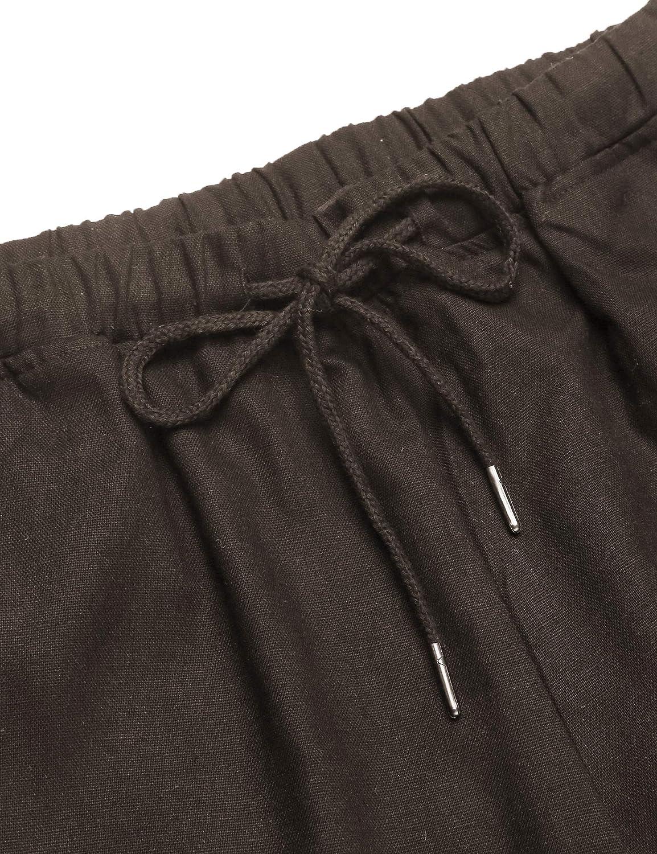 COOFANDY Mens Linen Loose Casual Lightweight Elastic Waist Yoga Beach Pants