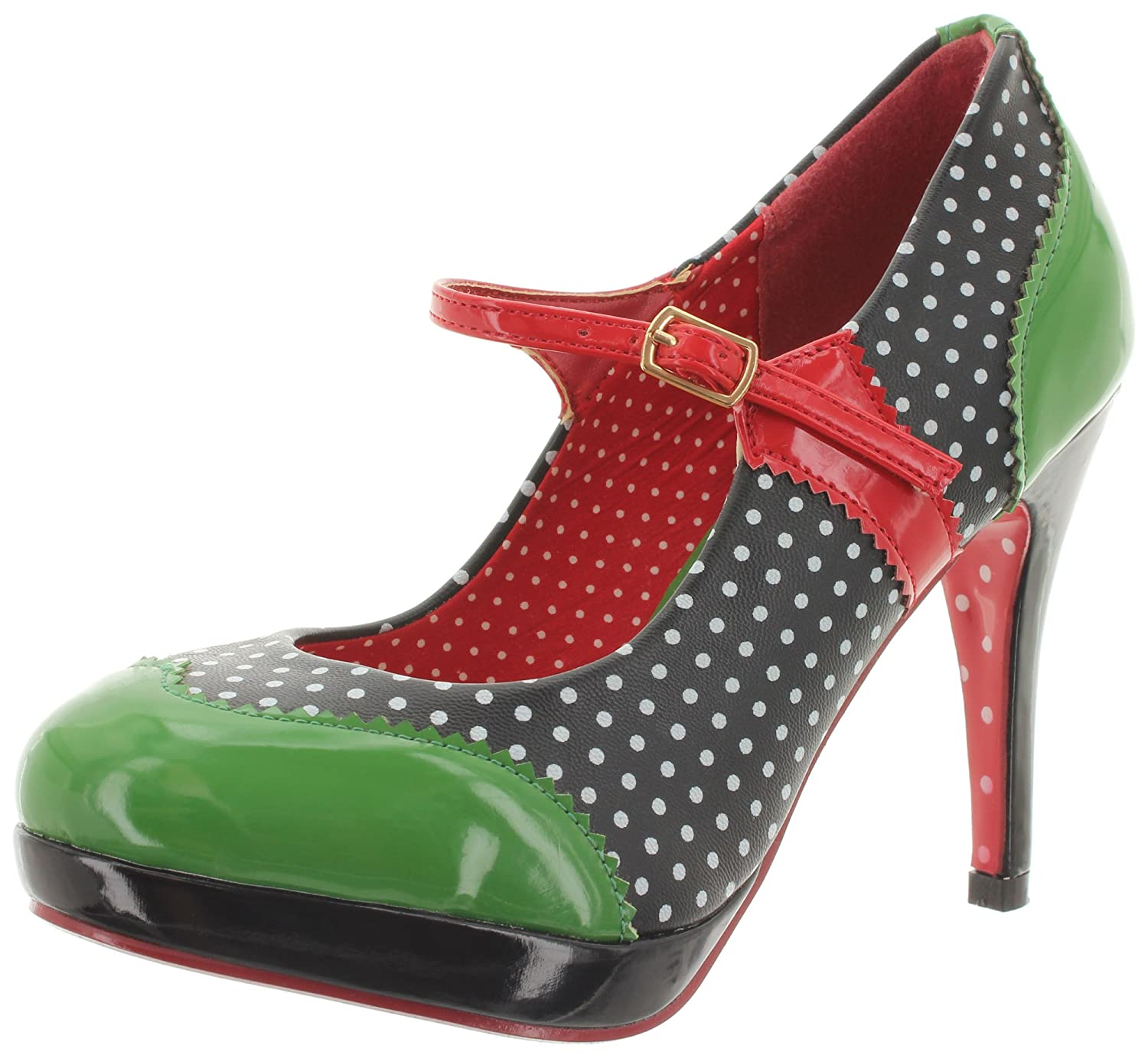 Dancing Days Banned Riemchen Pumps Mary Jane BND008 Black-Green