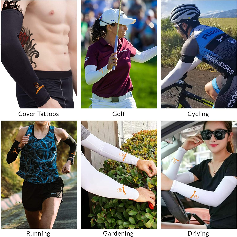 ARMORAY Arm Sleeves for Men or Women Basketball Golf Running Football Cycling (Black 1 Pair + Gray 1 Pair (2 Pairs)): Clothing