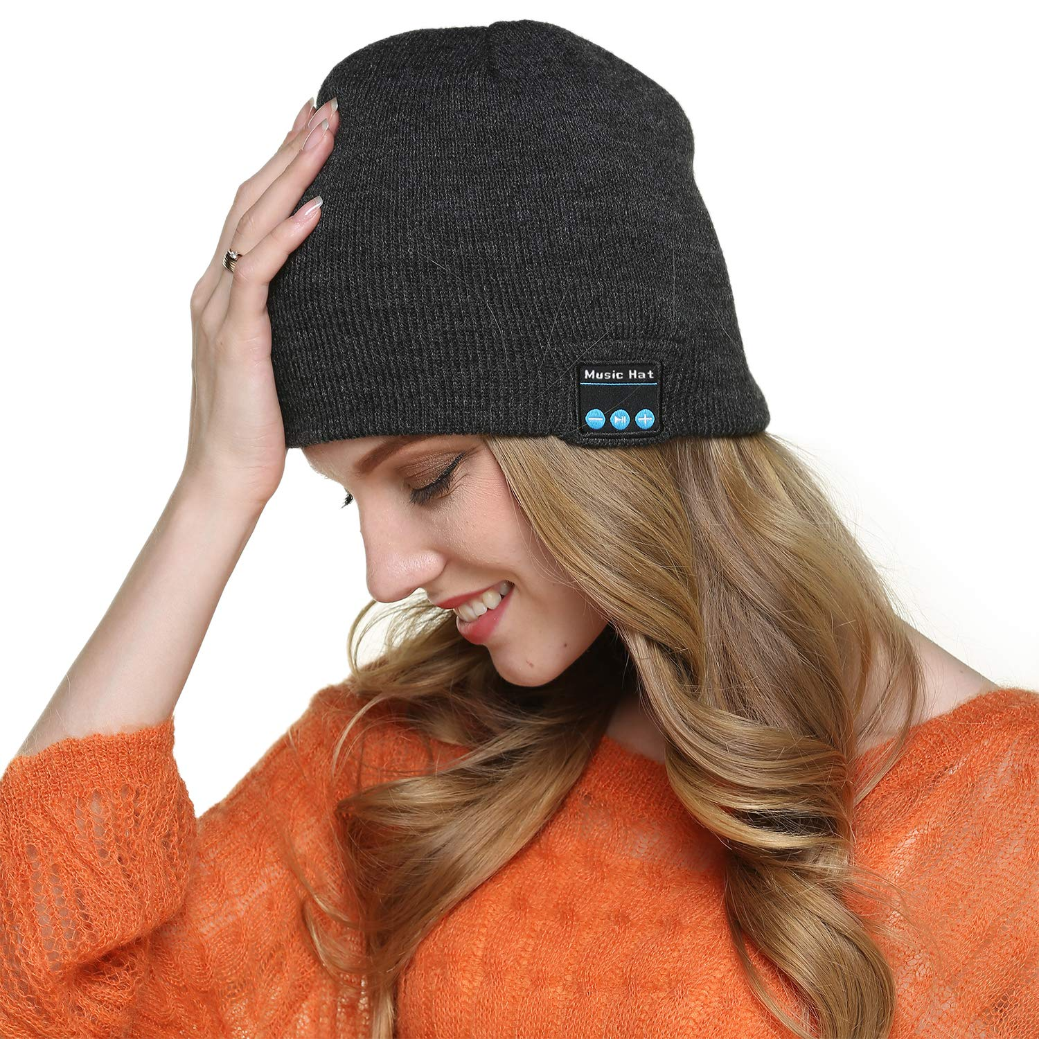YAMTHR HD Stereo Bluetooth Beanie Hat Wireless Headset Musical Knit Cap V4.2 Headphones Speakers Built-in Mic (Grey)