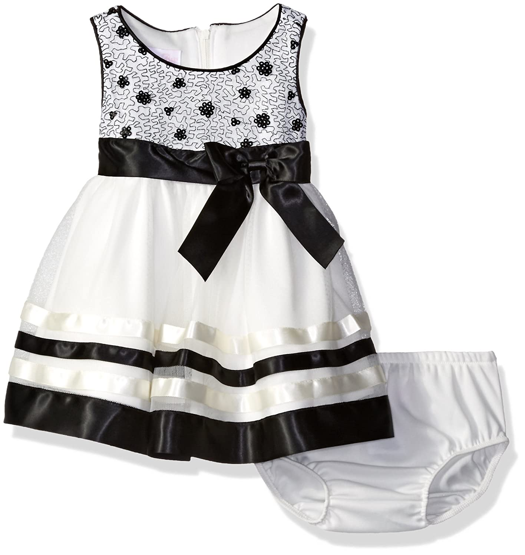 Bonnie Baby Baby Girls ' Sequin Bodiceドレスリボントリムスカート B01M5LF87C L|ブラック/ホワイト ブラック/ホワイト L