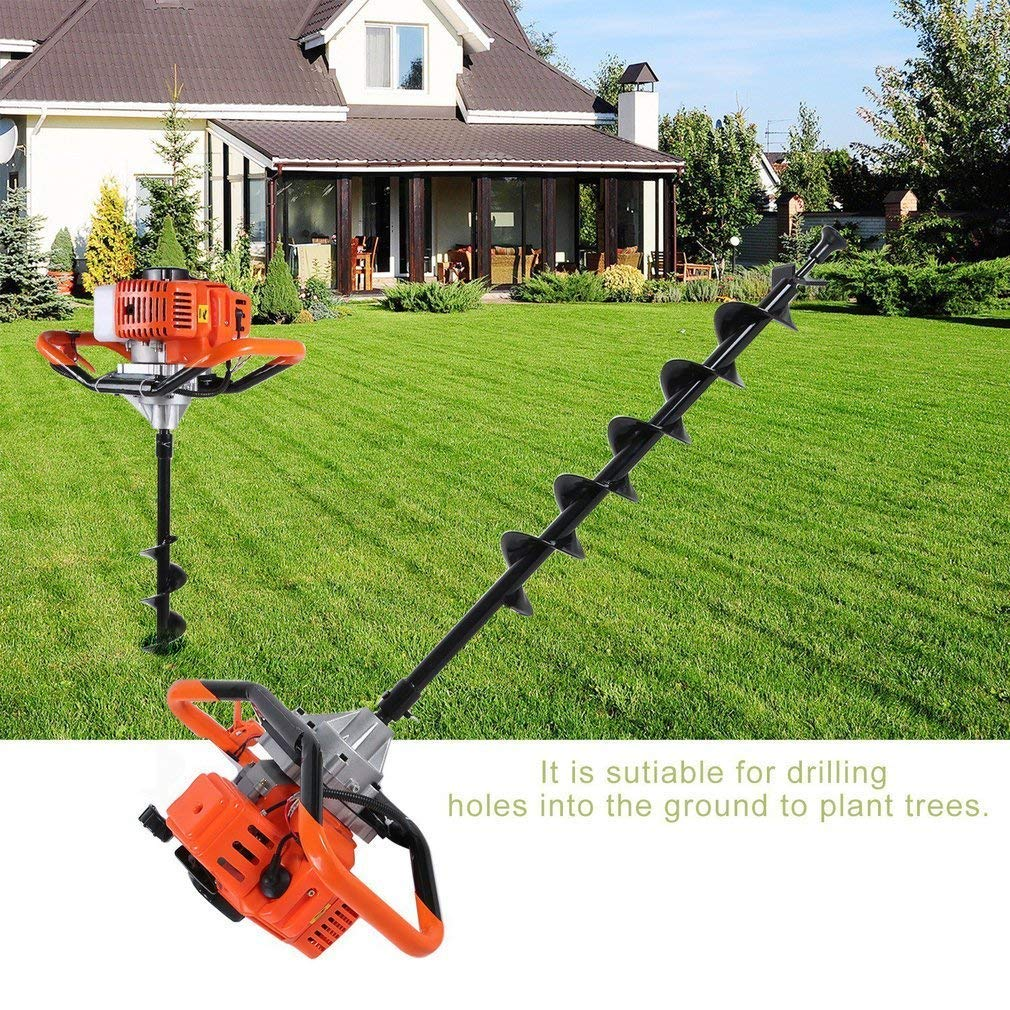 2.3HP 2.3 HP Gas Powered Post Hole Digger,55C Earth Auger Post Fence Hole Digger Garden Tools Powered Engine 4 6 8 Bit