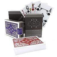 2 jeux de cartes de poker en plastique professionnelles imperméables de la marque Bullets Playing Cards avec quatre signes de coin - Jeux de carte de luxe avec l'index Jumbo - Cartes de jeu professionnelles haut de gamme pour le poker Texas Hold'em
