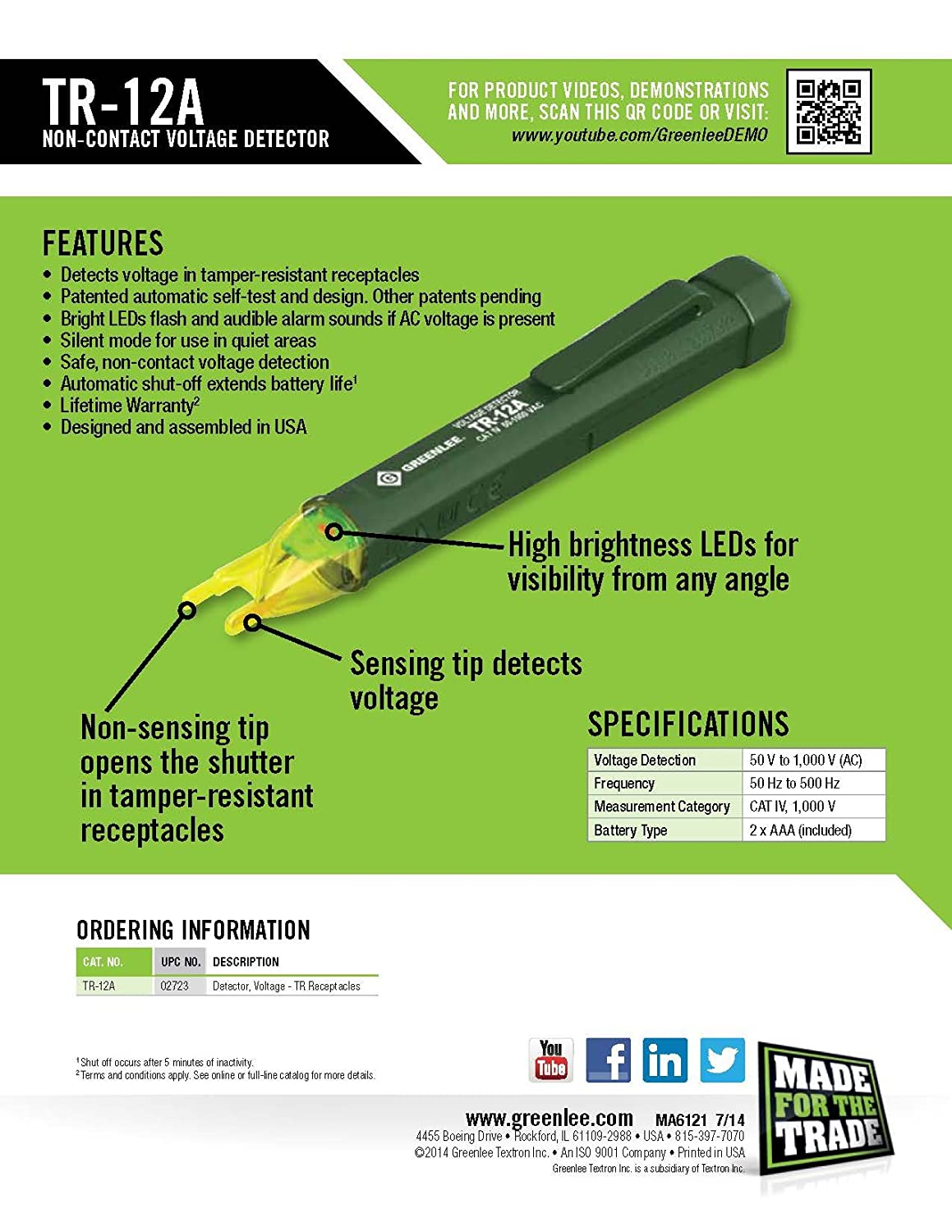 Greenlee Tr 12a Non Contact Voltage Detector Circuit Breaker Finder Noncontact Tester And Socket