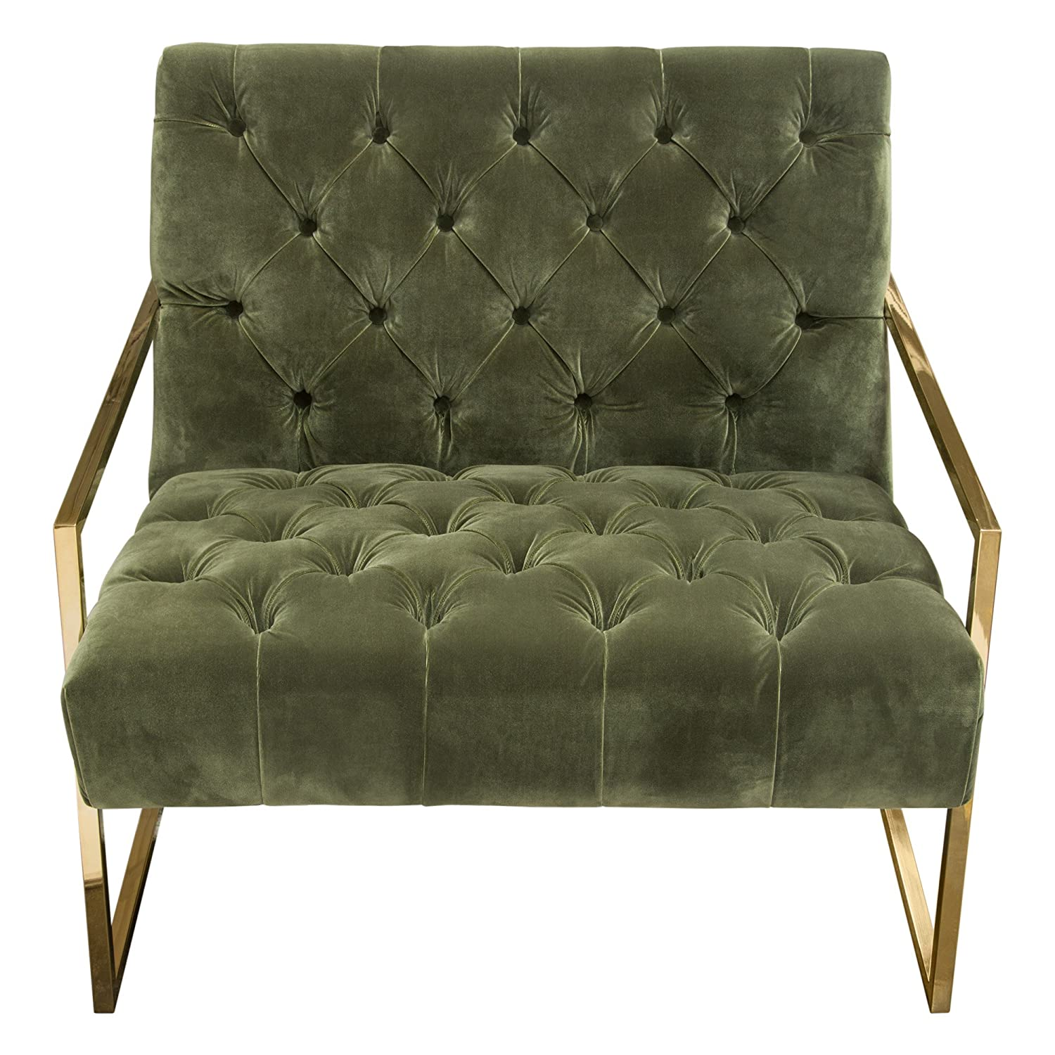Amazon com diamond furniture luxechgn luxe accent chair in olive green tufted velvet fabric with polished gold stainless steel frame kitchen dining