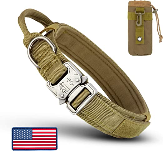 INVENHO Tactical Dog Collar for Medium Large Dogs with USA American Flag and Bottle Pouch Dog Collars Adjustable Nylon Thick Heavy Duty Metal Buckle Dog Collar with Handle for Dog Training Khaki L