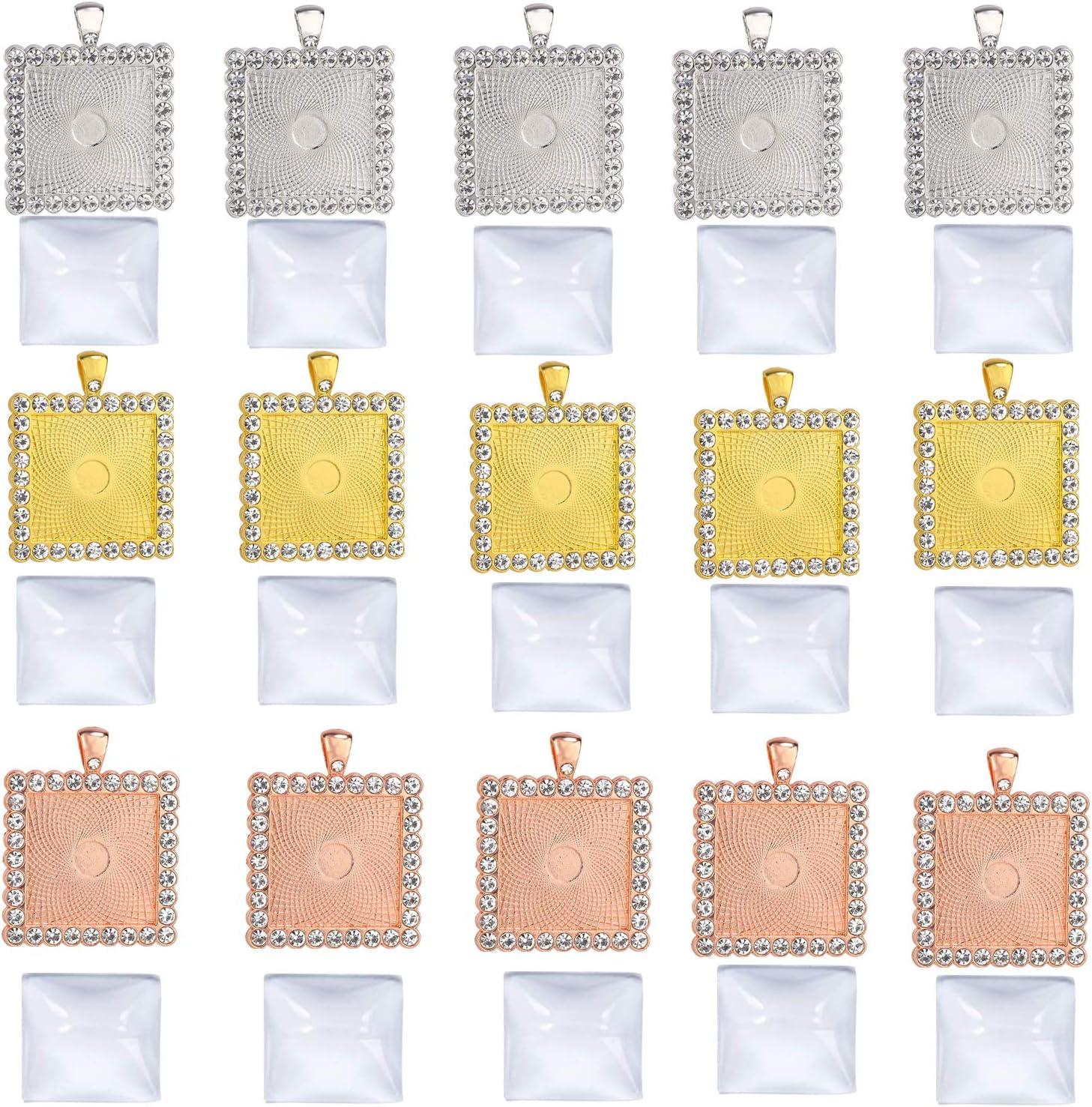 30 Pcs Rhinestone Bezel Pendant Trays Set,15 Pcs 3 Colors 25mm Square Bezel Pendant Trays Blank Bases with 15 Pcs Clear 25mm Square Glass Cabochons for Photo Pendant DIY Jewelry Craft Making