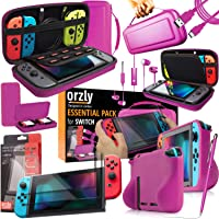 Orzly Switch Accessories Bundle, Pink Orzly Carry Case for Nintendo Switch Console, Tempered Glass Screen Protectors…