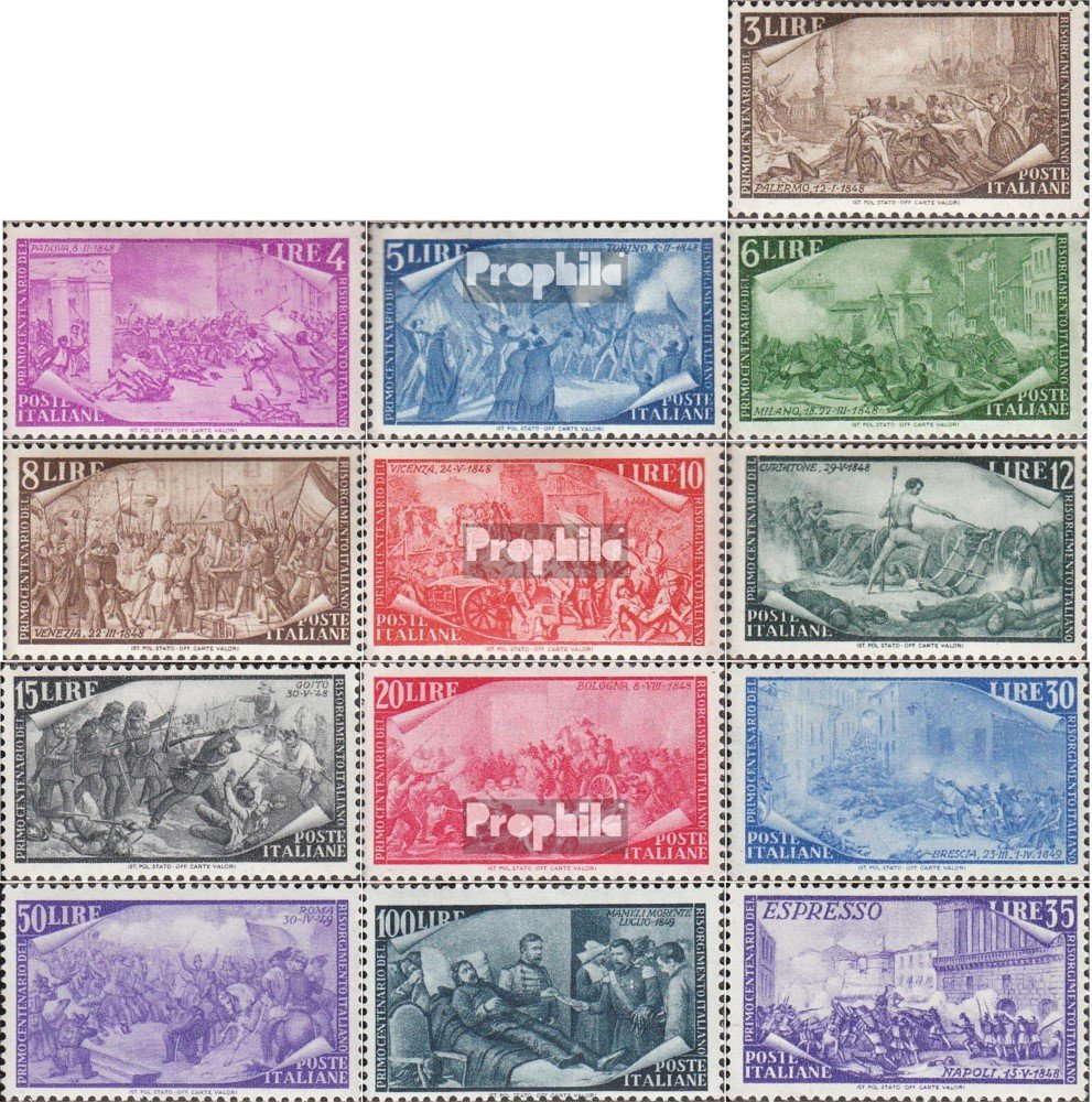 Italy 748-760 (complete.issue.) with hinge 1948 Survey 1848 (Stamps for collectors)