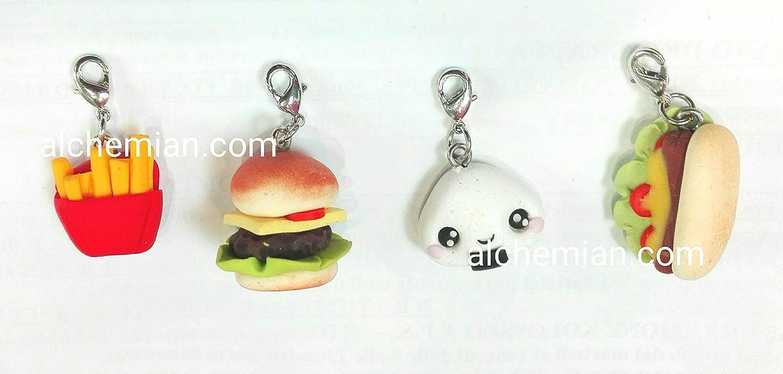 Sushi Hamburger onigiri bigmac patatine hotdog lotto di ciondoli charms in FIMO modellati a mano moschettone bag charm per creare braccialetti orecchini