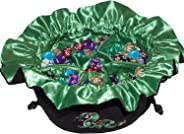 Large Dice Bag with Pockets – Embroidered Green Dragon DND Dice Bag | Green Satin Interior Lining | Man-Handles 150+ Dice