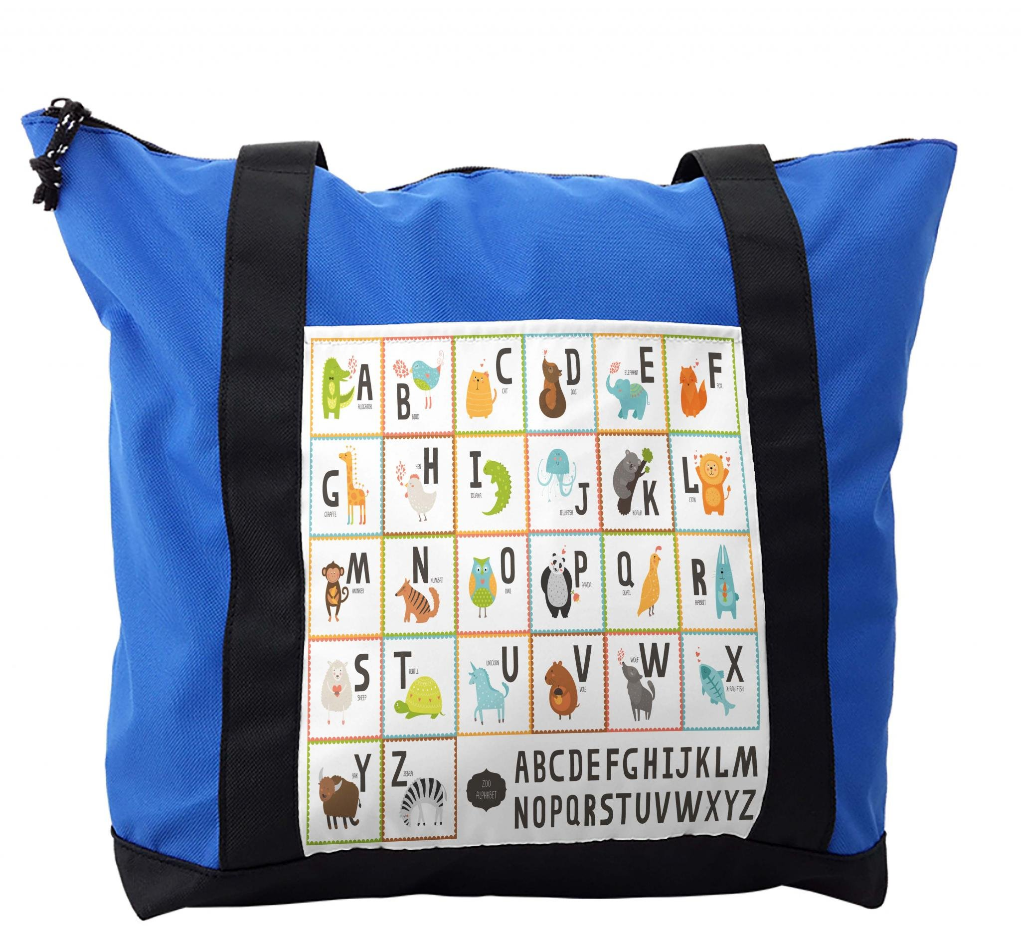 Lunarable ABC Kids Shoulder Bag, Owl Cat Panda in Squares, Durable with Zipper
