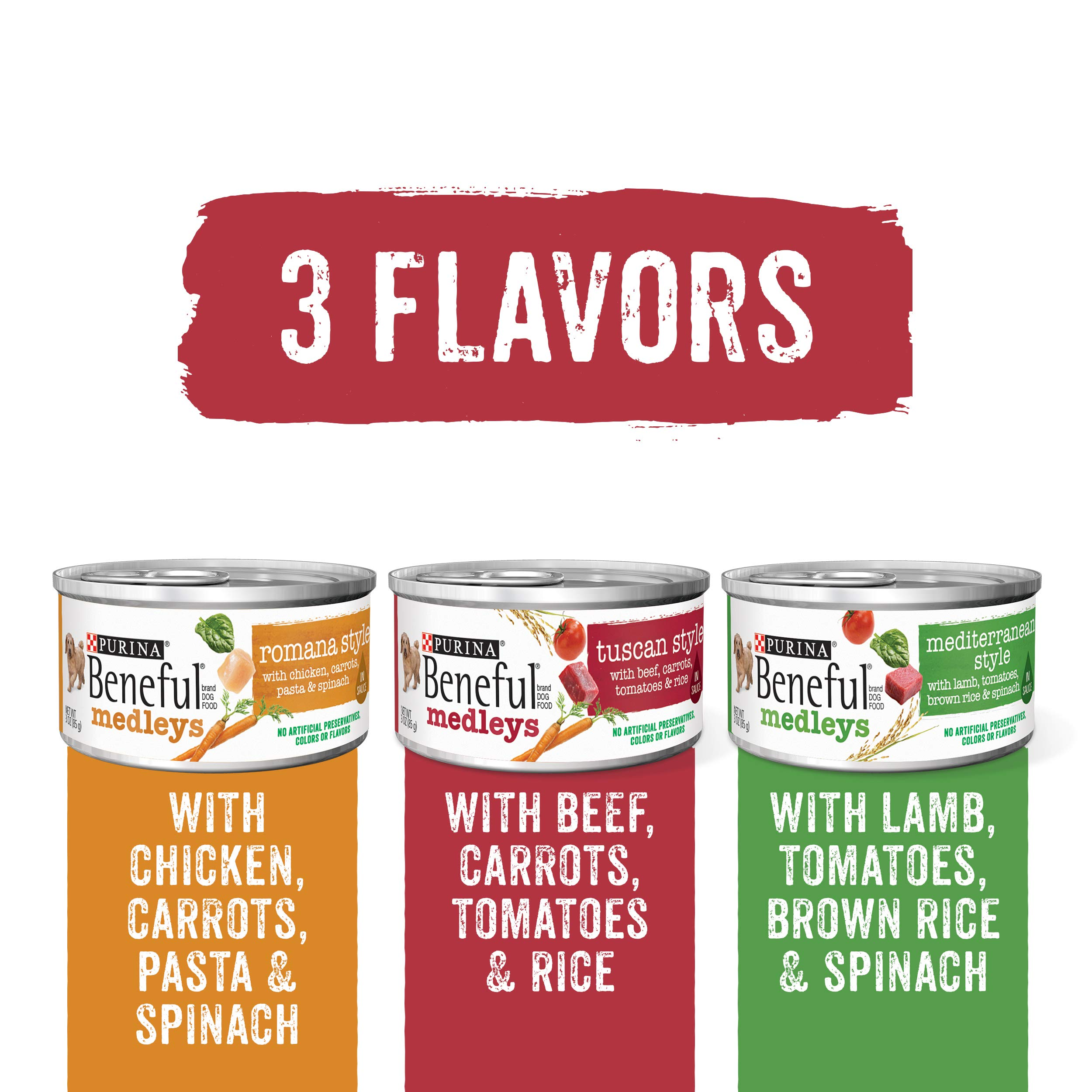 PACK OF 3 - Purina Beneful Medleys Variety Dog Food CT of 27, 3 oz. Cans by Purina Beneful