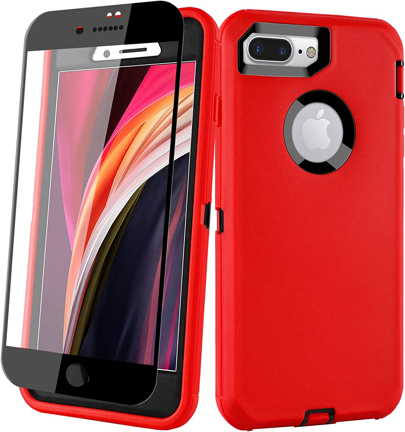 Aopuly iPhone 8 Plus/7 Plus Case with Screen Protector, Heavy Duty Shockproof Full Body Phone Case Protective Rugged Cover for Apple iPhone 7 Plus/8 Plus 5.5