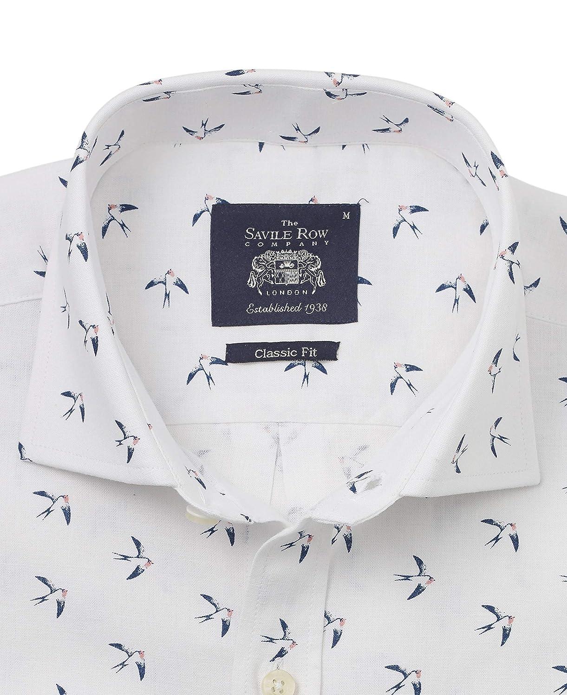 Savile Row Mens White Swallow Print Linen-Blend Classic Fit Shirt XXXL Standard
