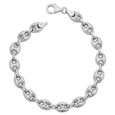 ebde3ddb5843b Amazon.com  Kooljewelry Sterling Silver Unisex Puffed Mariner Bracelet  (7.5mm