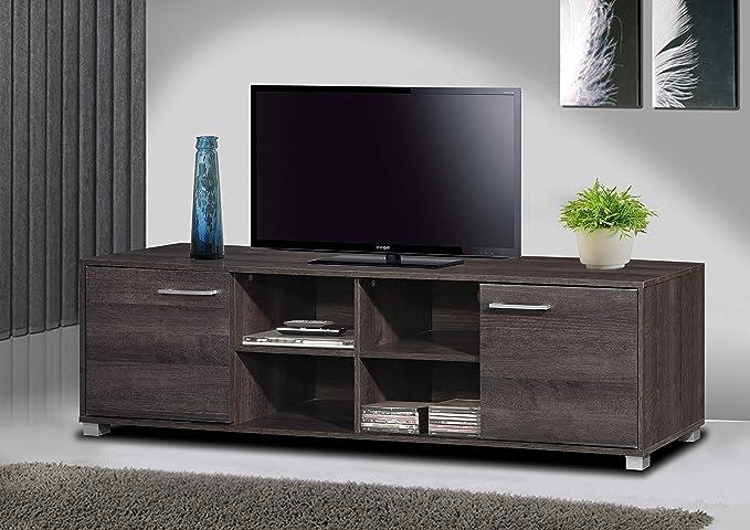 TADesign Robust Engineered Wood TV Stand   Home Entertainment Unit  Charcoal Oak, Matte Finish, German Melamine Laminate  TV   Entertainment Units
