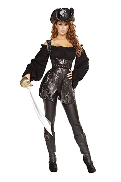 Amazon.com: Sexy 3PC pirata de la mujer de la noche disfraz ...