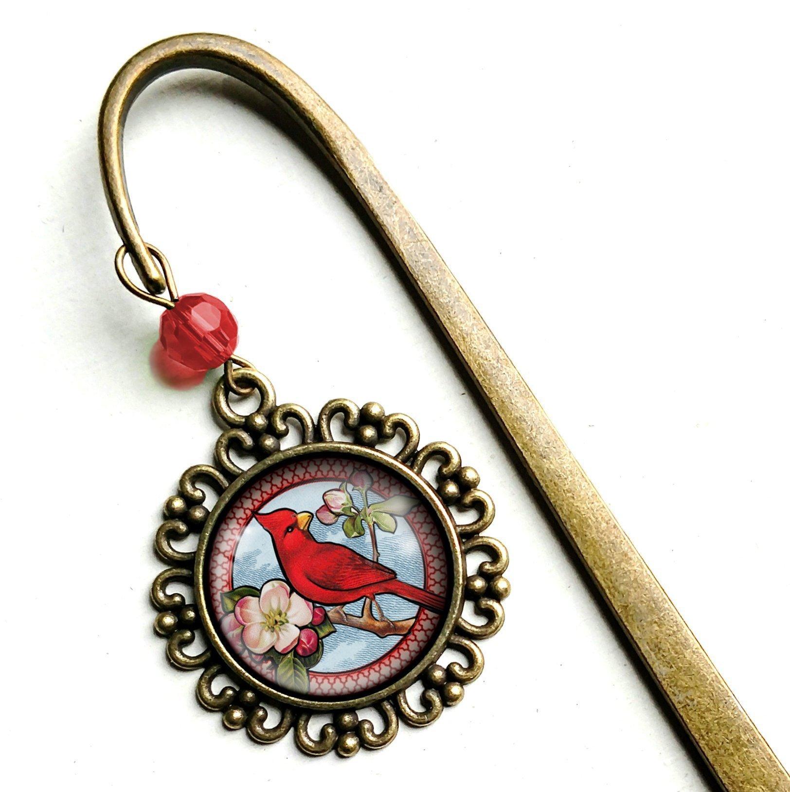Spring Cardinal brass bookmark